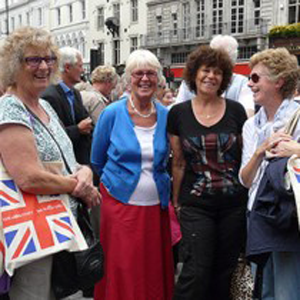 An image of the four women celebrating at the parade