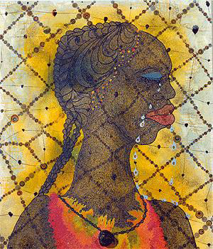 A painting of a black womans head by Chris Ofili. Called 'No Woman, No Cry'