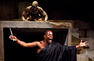 A photo of a black actor in Shakespeare's 'Julias Cesear'