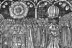 woodcut of the Coronation of Henry VIII and Catherine of Aragon