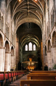 A photo of the interior of Hereford Cathedral