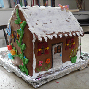 A photo of a gingerbread house
