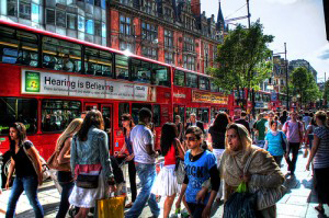 A photo of diverse london high street