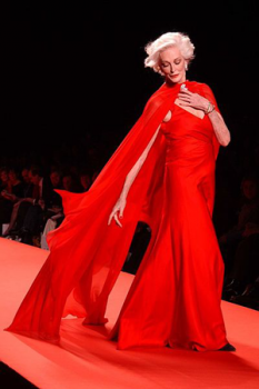 A photo of Carmen Dell'Orefice in a red dress