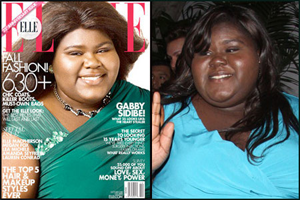 two photos of Gabourey - one on a magazine cover with her skin whitening