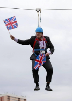 Boris Johnson waving a Flag