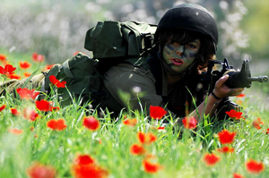 A photo of a female Israeli soldier