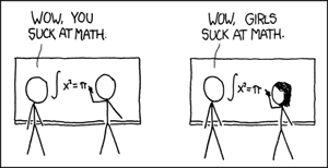 A cartoon showing the divide in maths