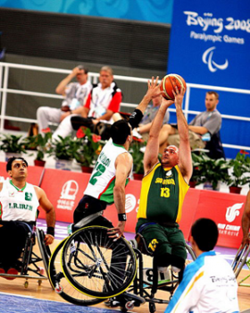A photo of wheelchair basketball