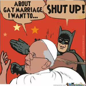 A cartoon showing batman slapping the pope