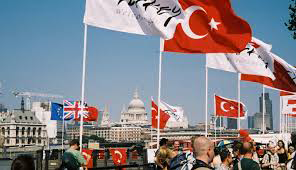 A photograph of international flags on London's Southbank