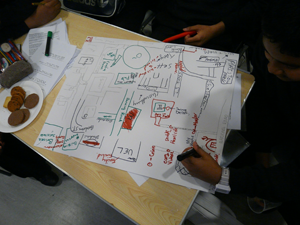 young people draw maps of Newham